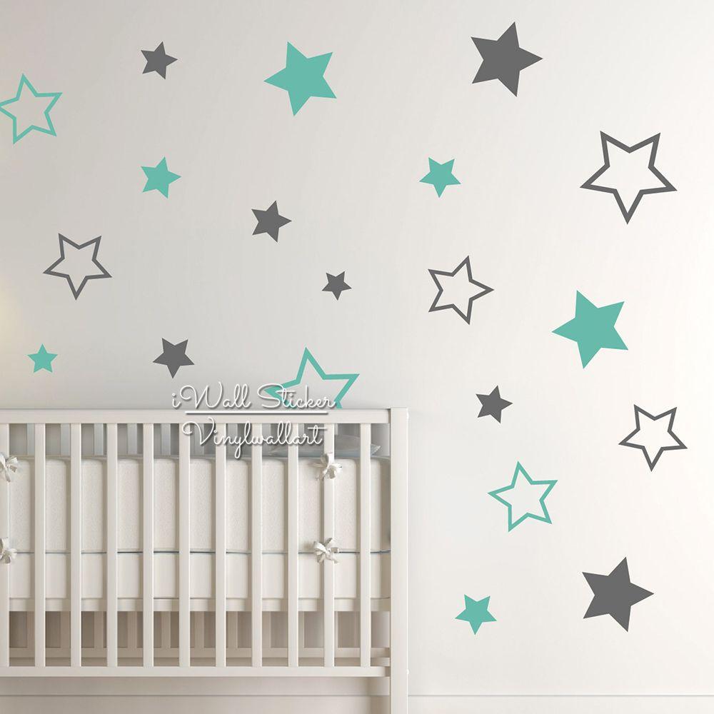 Autocollant mural étoiles de pépinière, décalcomanie murale étoile, autocollants muraux étoiles pour chambre d'enfants, décoration de chambre d'enfants, décalcomanie garçons filles N22