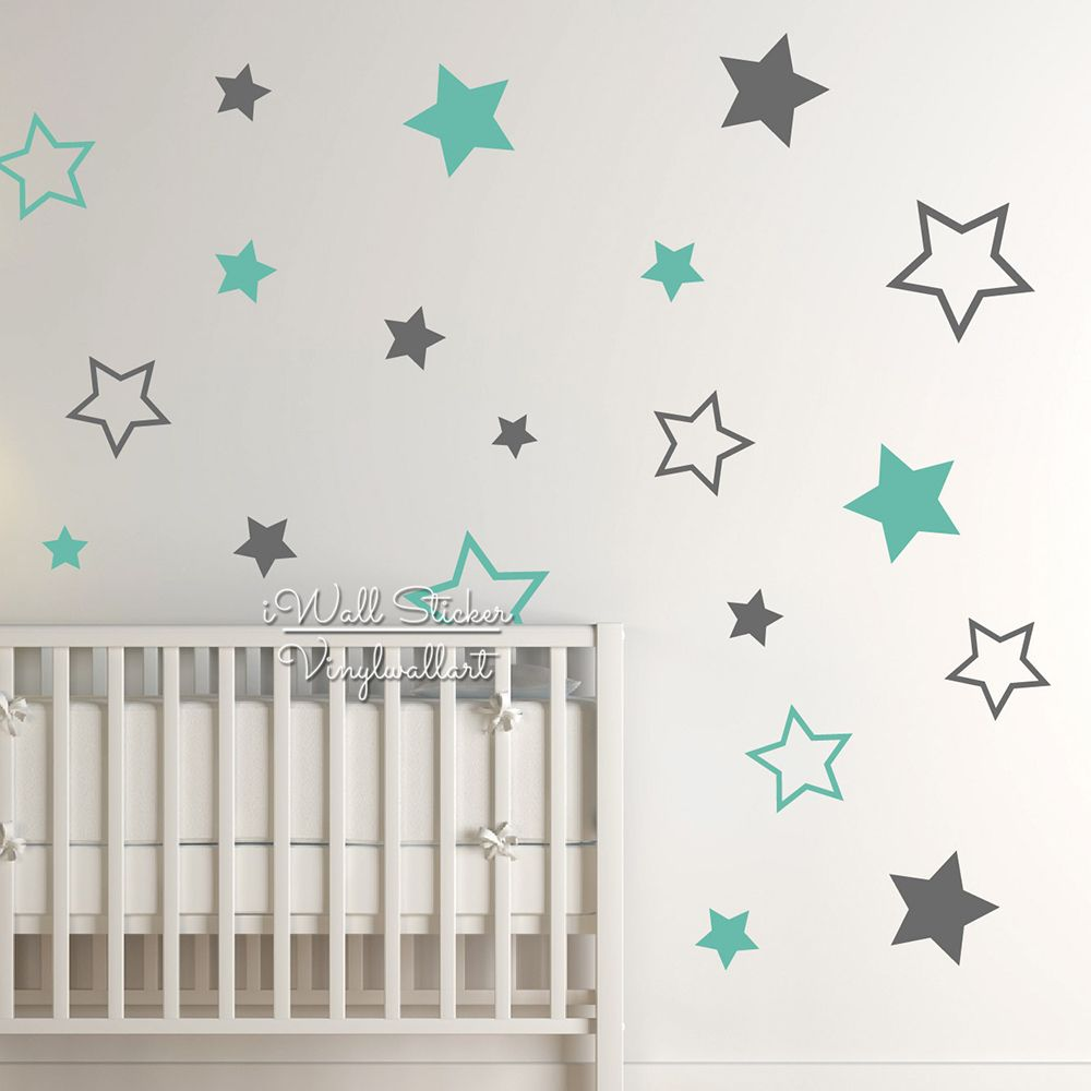 Baby Nursery <font><b>Stars</b></font> Wall Sticker <font><b>Star</b></font> Wall Decal Children Room Wall Sticker Removable Kids Room Decors High Quality Cut Vinyl N22