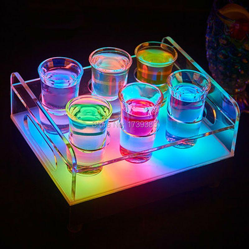 Свободный Корабль переменчивый Цвет LED 6/12 Отверстия Рюмку Пуля кубок посуда Держатель свет шкаф Вина ведра со льдом для бары/события