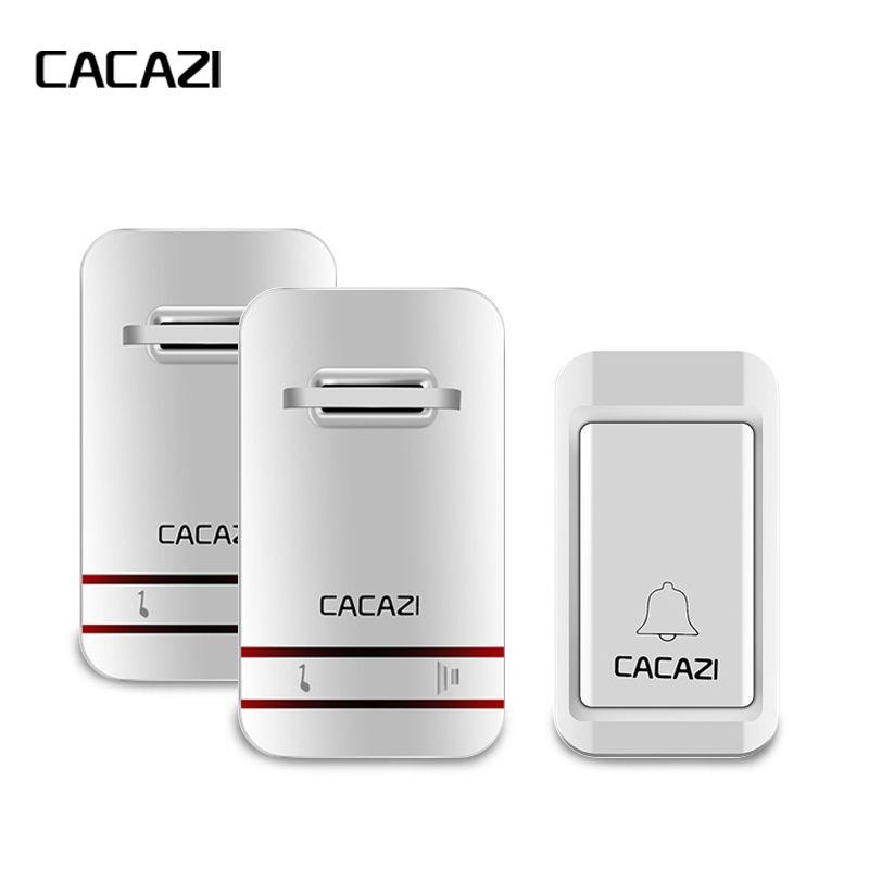 CACAZI Wireless DoorBell No Need Battery Led Light Doorbell Waterproof 220V Kinetic Electronic Door Bell+Push Waterproof Button