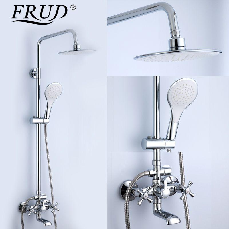 FRUD 1SET bathtub shower Bathroom bath rainfall Shower restroom faucet shower set in slide bar big shower head handshow R24732
