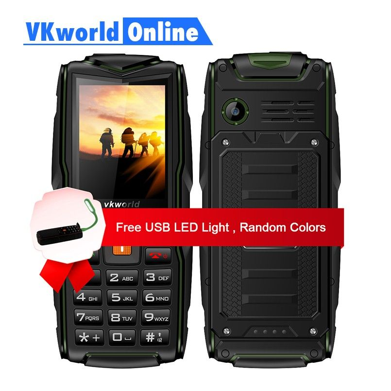 VKworld New <font><b>Stone</b></font> V3 Feature Phone Waterproof IP68 2.4 inch GSM FM Russian Keyboard 3 SIM Cards Slot 3000mAh 2G GSM Cellphone