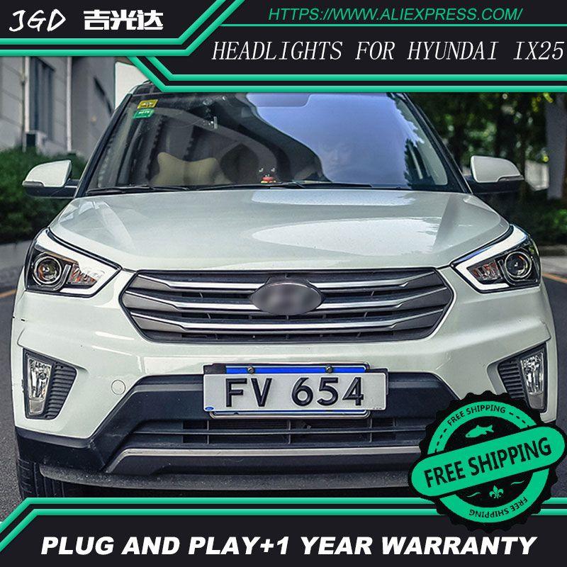 Car Styling Head Lamp case for Hyundai Creta Headlights 2015-2016 IX25 LED Headlight DRL H7 D2H Hid Option Angel Eye Bi Xenon