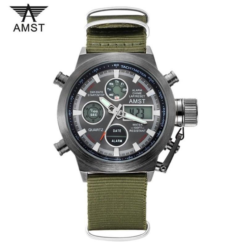 Direct Selling AMST Men Watches Fashion Casual Quartz-watch Digital Display Sports Waterproof <font><b>Shockproof</b></font> Relogio Masculino Clock