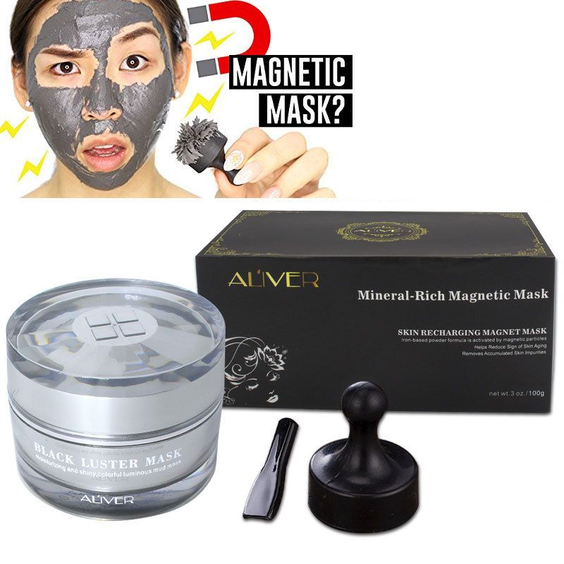ALIVER Mineral-Rich Magnetic Face Mask Black Mask Deep Cleaning Blackhead Pore Cleansing Removes Skin Impurities Face Skin Care