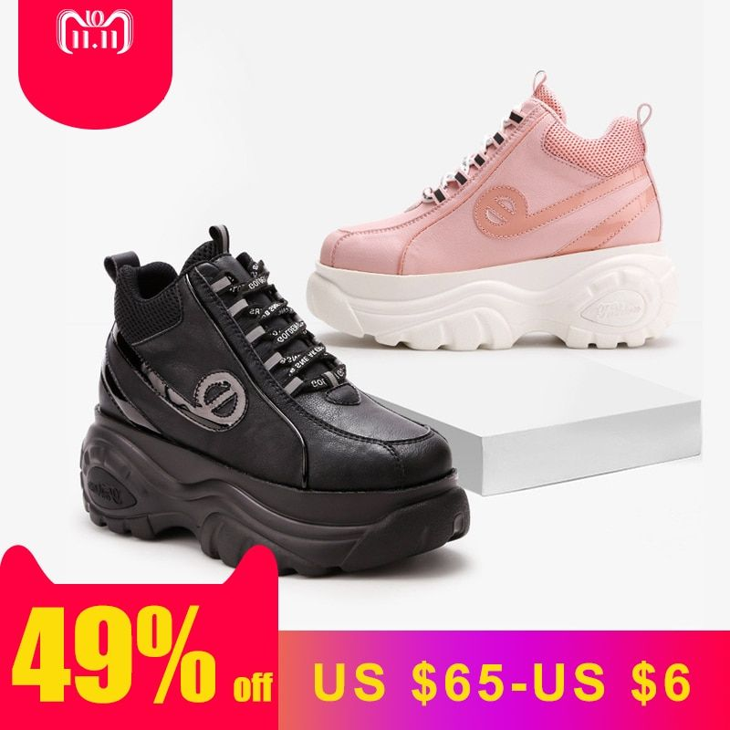 Pre-sales White Shoes Women Brand Platform Sneakers Lady Increased chaussure Cross-tied Female footware Black zapatos de mujer