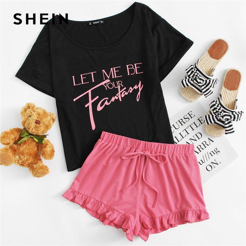 SHEIN Letter Print Top And Ruffle Hem Shorts Pajamas Set Women Round Neck Short Sleeve Preppy Nightwear Girl Sweet Sleepwear