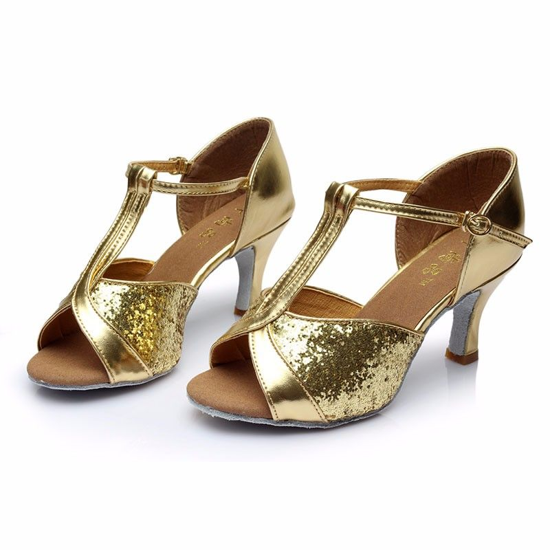 HXYOO Latin Shoes Women Salsa Ballroom Dance Shoes Tango Champagne Brown Soft Sole Professional GM032
