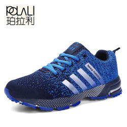 POLALI más tamaño 47 alta calidad 2018 hombres zapatos casual Primavera Verano unisex luz weige transpirable moda masculina zapatos