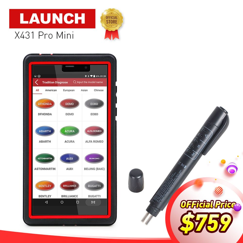 LAUNCH X431 Pro Mini Bluetooth/Wifi Full ECU Diagnostic Scanner with 2 years free update X-431 Pros Mini Scan Scanner Analyzers