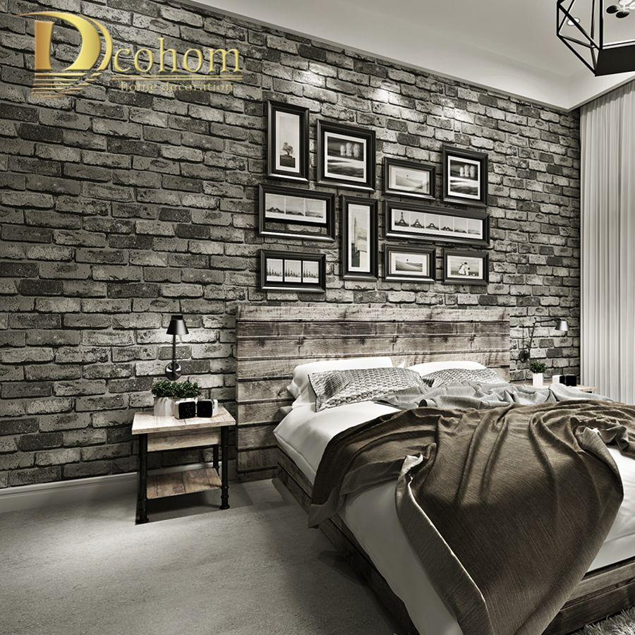 Moderne Vintage Brique Papier Peint Pour Les Murs Décor En Relief 3D Mur Rouleaux de papier Pour Chambre salon Canapé TV Fond