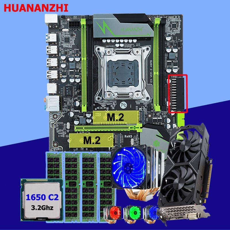 HUANANZHI X79 Pro motherboard mit DUAL M.2 slot video karte GTX1050Ti 4G CPU Xeon E5 1650 C2 mit 6 rohre kühler RAM 16G (4*4G)