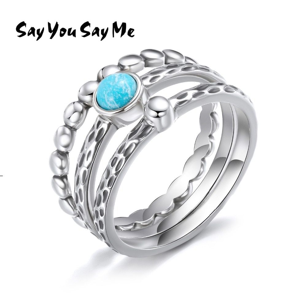 Say You Say Me 925 Sterling Silver Bead Rings Blue turquoise Leopard Rings Wholesale Elegant Wedding&Engagement Gifts 2018 New