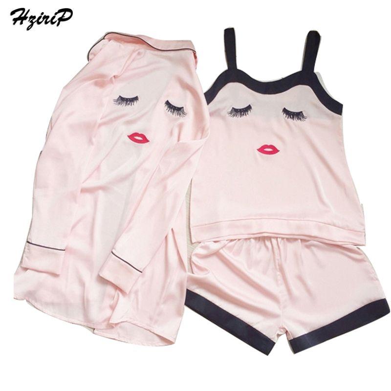 Hzirip платье шелковой атласной ночной рубашке 3 пары Наборы для ухода за кожей Для женщин спать ночью Вышивка пижамы CHEMISE De Nuit кимоно одеяние н...