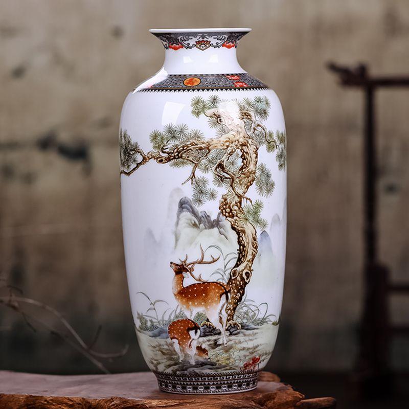 Jingdezhen Vase en céramique Vintage Style chinois Animal Vase Fine Surface lisse décoration de la maison Articles d'ameublement