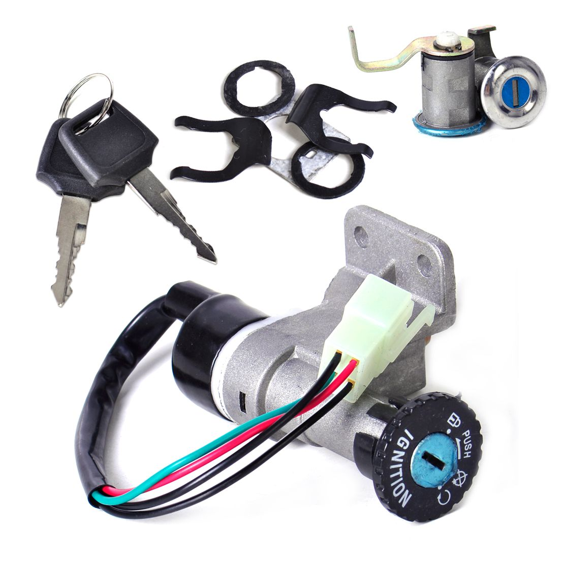 DWCX 4 pin Ignition Key Switch Lock Toolbox Cushion Lock for Chinese GY6 50cc 125cc 150cc 250cc ATV Jonway Roketa Moped Scooter