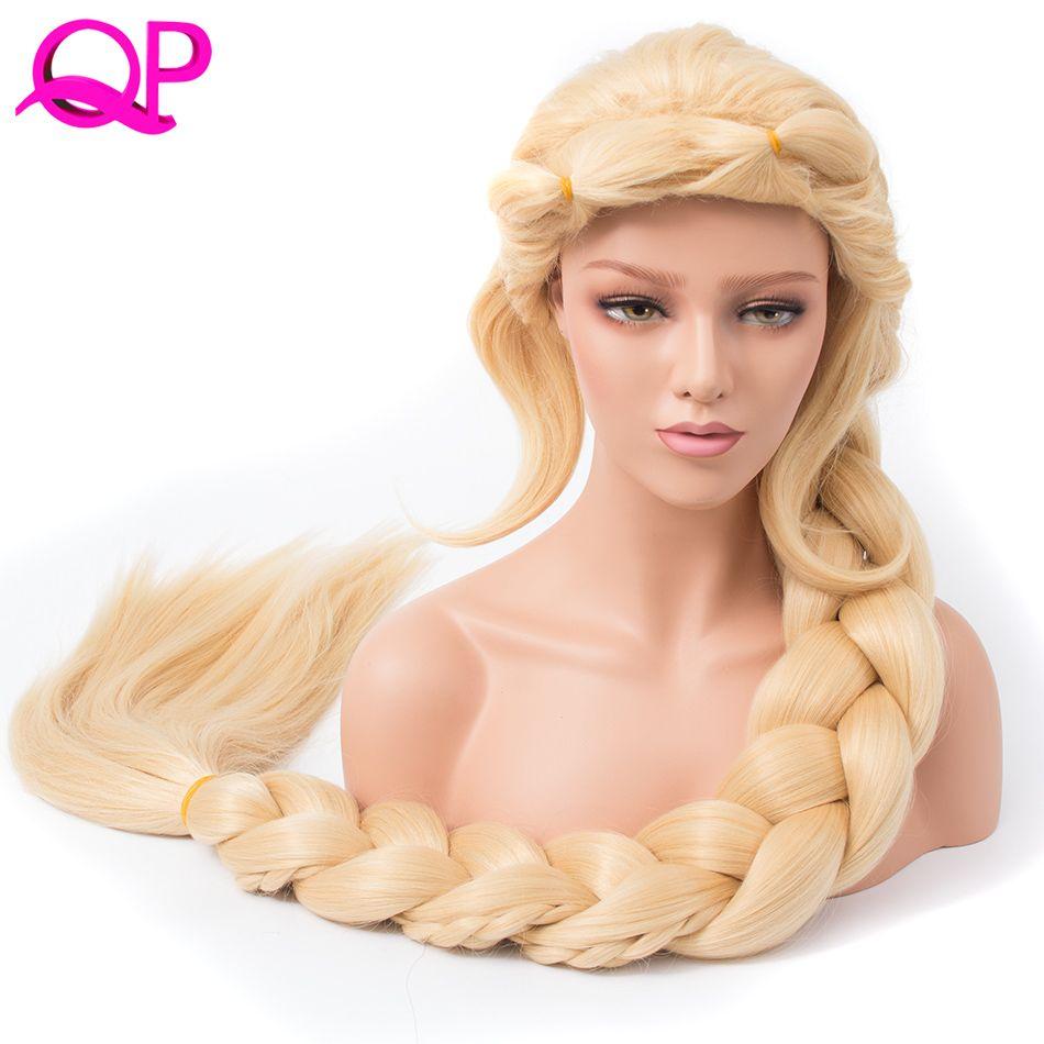 Qp Cabello Liso Cosplay Princesa 3X Trenzado Extra Long 140 cm Color Rubio Peluca Sintética larga briad