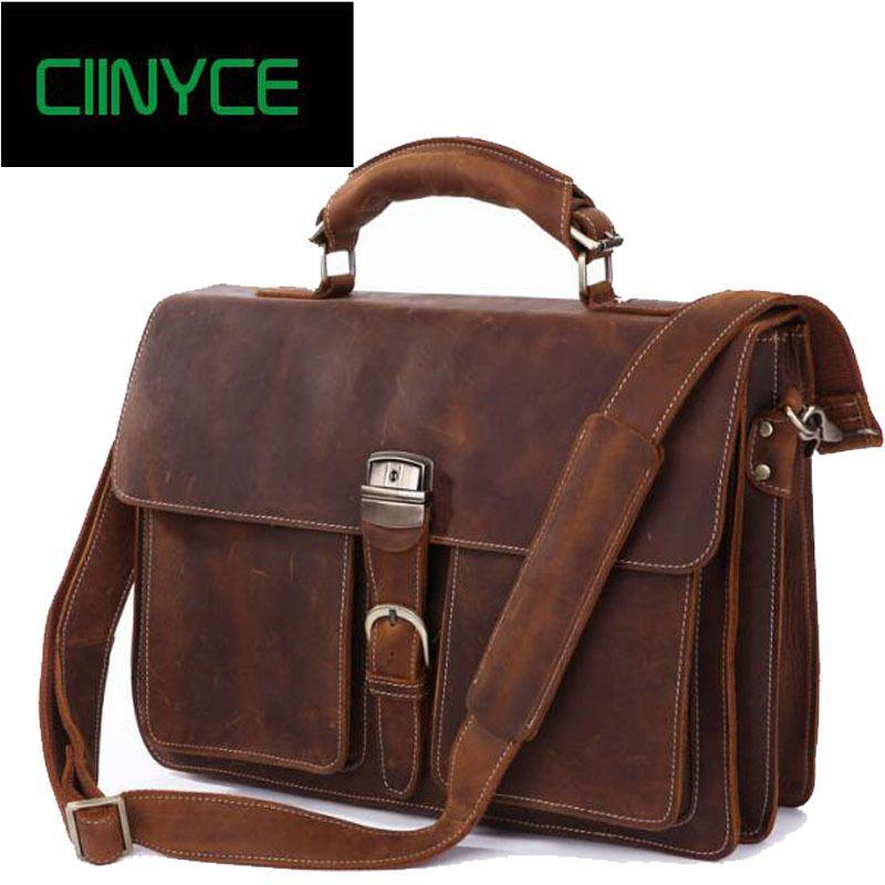 Vintage Crazy Horsehide Men Genuine Cow Leather Messenger Crossbody Laptop Totes Handbags Business Briefcase Bags