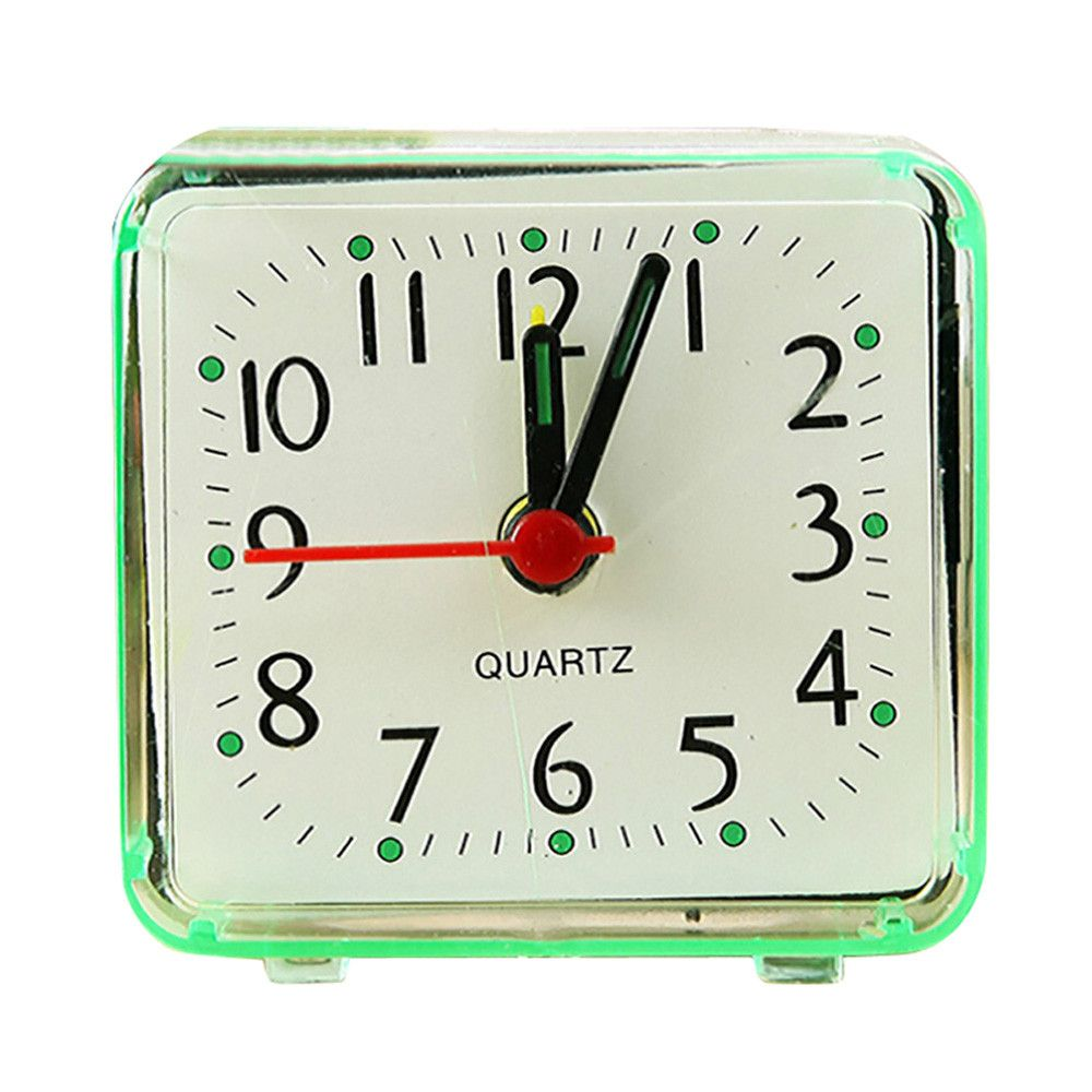 Plastic Alarm Clock Cute Portable Square Small Bed Compact Travel Quartz Beep Candy Color Fashion Clock For Student 5.8x5.5cm