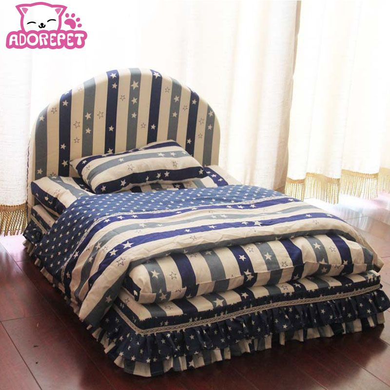 Lavable 3 pièces petit chien lit maison ensemble pet cat luxe princesse canapé-lit chenil pour chihuahua (lit pour animaux + oreiller + couverture)