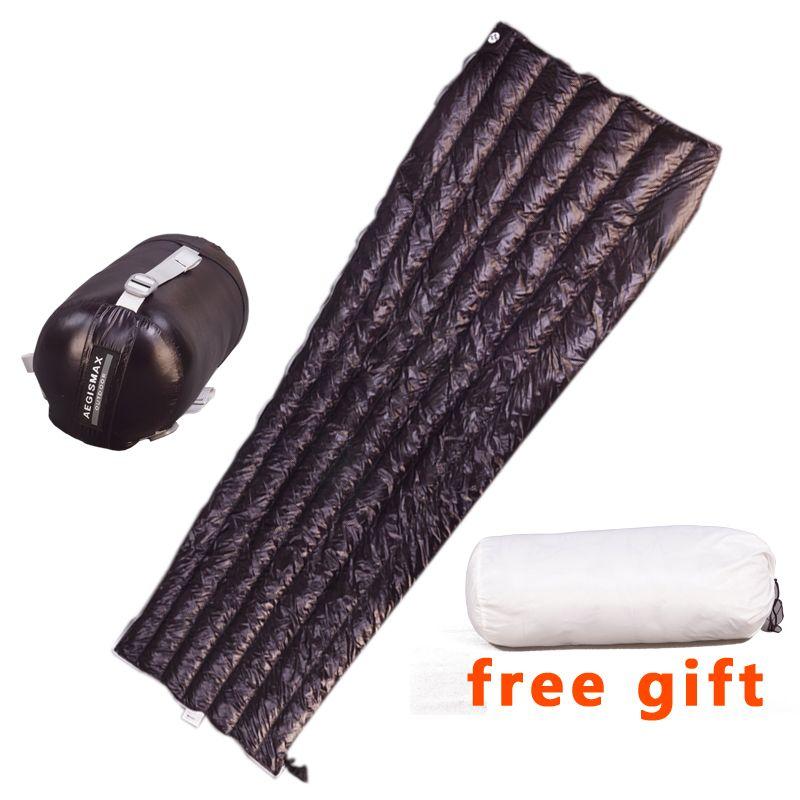 Aegismax Ultralight Lengthened Envelope Sleeping Bag White Goose Down Outdoor Camping Sewn Through Black&gray 200x80cm 190x72cm