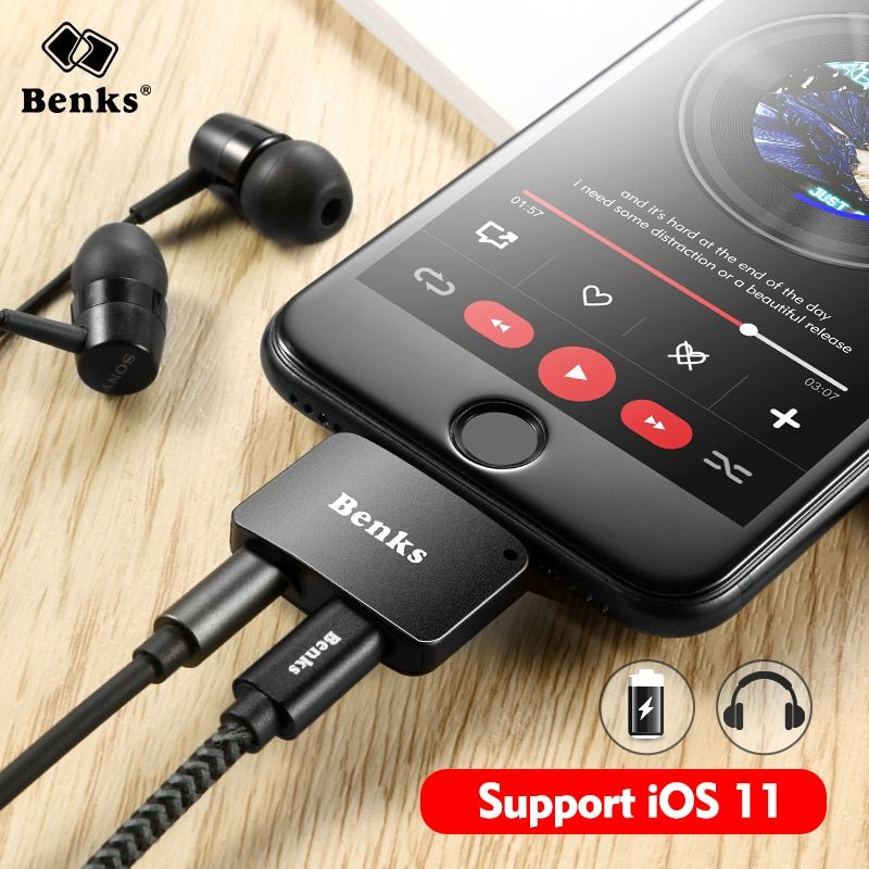 Benks For iPhone 7 8 Plus 2 in 1 Audio Charging Adapter iOS 11 3.5mm Headphone Jack AUX Charger Connector Converter For <font><b>iPhone7</b></font>