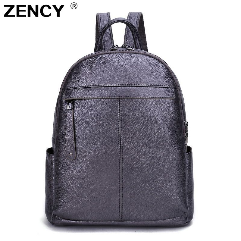Fast Shipping 9 Colors 100% Genuine Leather Women Backpack First Layer Cow Leather White Silver Light Blue Backpacks Travel Bag