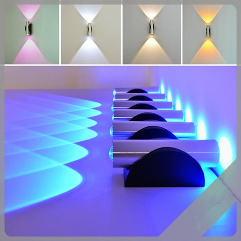 Abajur Material Aluminum Sconce Bedroom Decorate Bidirectional Wall Light Colorful Indoor 2W AC110V/220V LED Wall Lamp