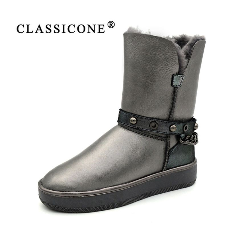 CLASSICONE 2017 women's boots winter shoes flats Genuine leather black gray Silver wool Fur snow boots brand fashion ankle boots