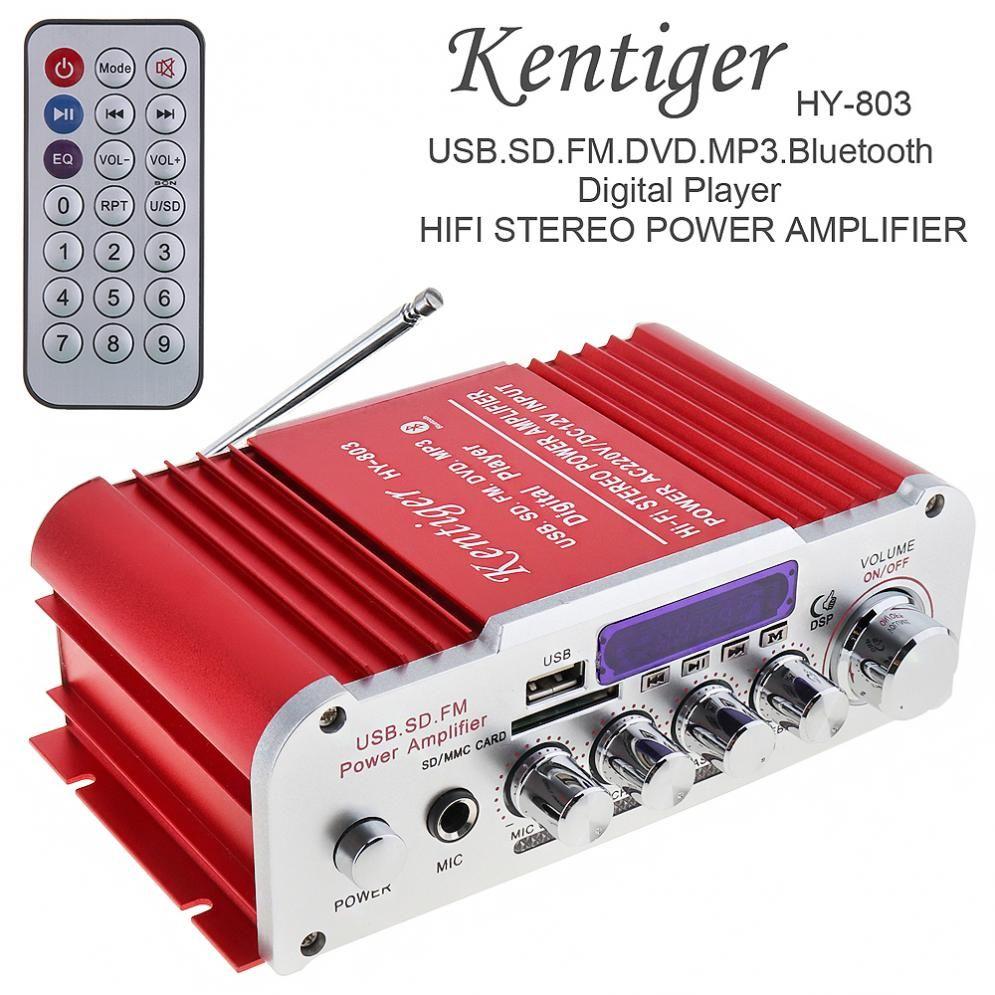 Universal DC12V/AC220V/AC110V 2CH Bluetooth HI-FI Car Audio Amplifier FM Radio Player Support SD/USB/DVD for Car Motorcycle Home