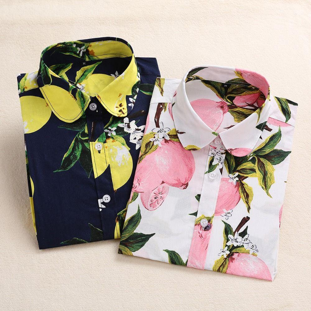 2018 Été Coton chemisiers pour femmes Fruit Impression Chemises à manches longues chemises femmes Tournent Vers Le Bas Bohême blouse décontractée Blusas 5XL