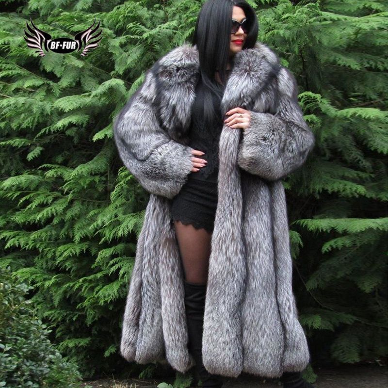 BFFUR Genuine Fur Coat Plus Size Clothing Winter Coat Women Tops Luxury Leather Jacket Female Real Natural Silver Fox Fur Parka
