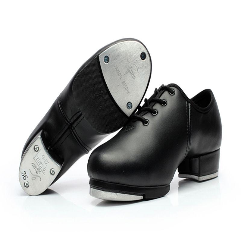 Männer Schuhe Turnschuhe Sport Frauen Echtes leder Stepptanz Schuhe aluminiumplatte Laut verschleißfesten Lace-up Schuhe schwarz Mädchen Heißer