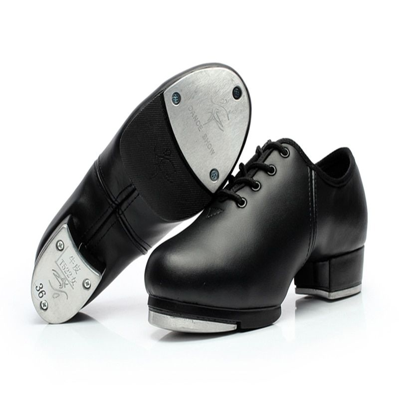 Men Shoes Sneakers Sports Women Genuine leather Tap Dance Shoes Aluminum plate Loud Wear-resisting Lace-up Shoes Black Girl Hot