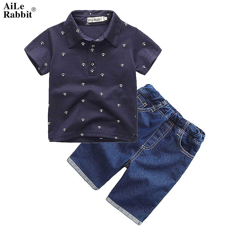 AiLe Rabbit New Summer Boys Clothing Sets Toddler Infant <font><b>Kids</b></font> Baby Boys T-shirtDenium Shorts Pants 2 Pcs Clothes Sets k1