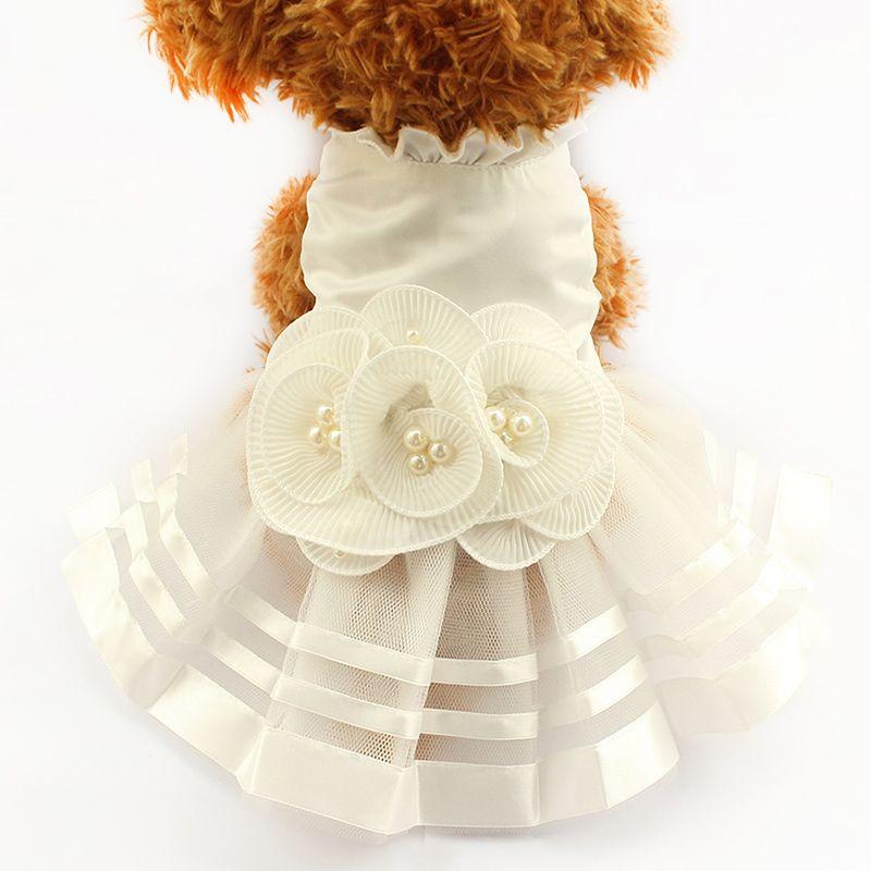 Armi store perle fleur parure chien robe robes de mariée pour chiens 6073008 Pet jupe Costume fournitures XS, S, M, L, XL