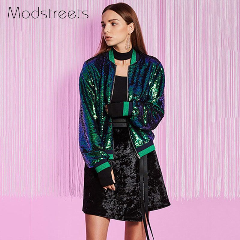 Modstreets Women Streetwear Jackets Green Sequins Bomber Jacket Long Sleeve Zipper Coat Stand Collar Jacket Loose Coat for Girls