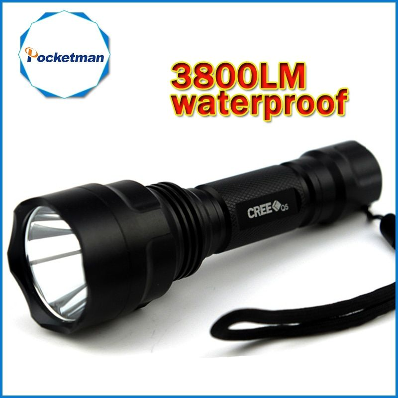 3800lm C8 LED Flashlight Hunting Torch Q5 Led Torch light lantern nitecore Waterproof For 1x18650