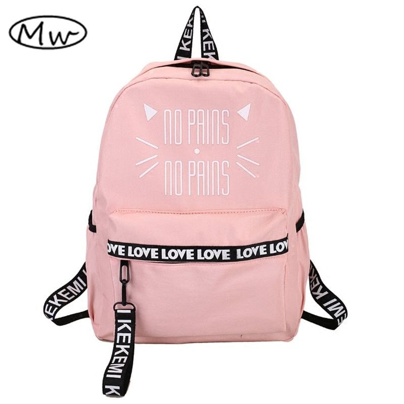 Moon Wood Lovely Cat Letter Printing Backpack Pink School Bags For Teenager Girls Students Book Bag <font><b>Notebook</b></font> Backpack Rucksack