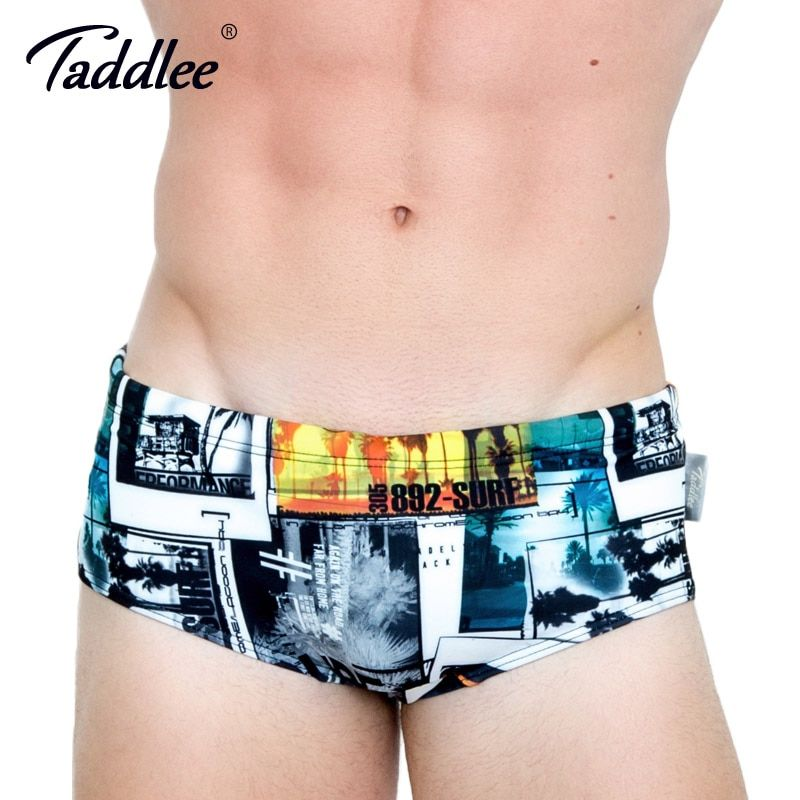 Taddlee Brand Sexy Mens Swimwear Swimsuits Swim Briefs Bikini Gay Penis Pouch Surf Board Shorts Low Waist 3D Printed Boardshorts
