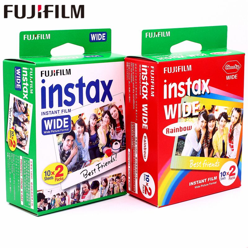 Genuine 40 Sheets Fujifilm Instax Wide White edge + Wide Rainbow Film for Fuji Instant Photo paper Camera 300/200/210/100/500AF