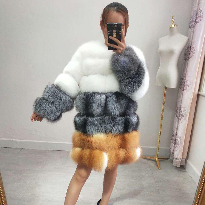 2018 neue echt fuchs pelz mantel damen lange winter pelz jacke warm langen ärmeln kleidung