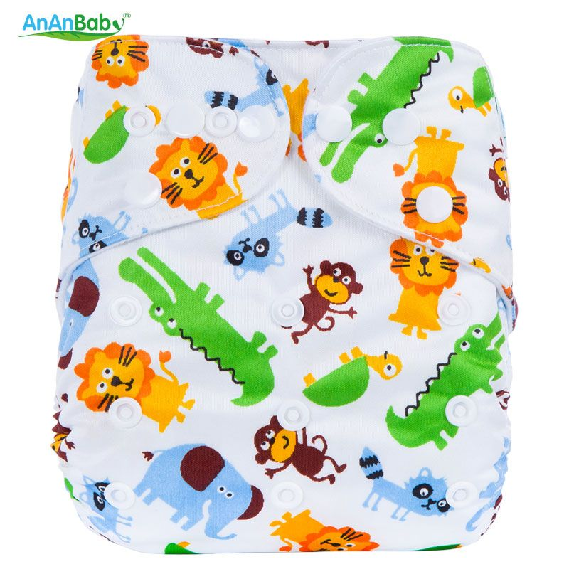Ananbaby Cloth Diaper Baby Waterproof Reusable Diapers Infant Baby Nappy Cover Couches Lavables Adjustable Cotton Diapers 1 Size