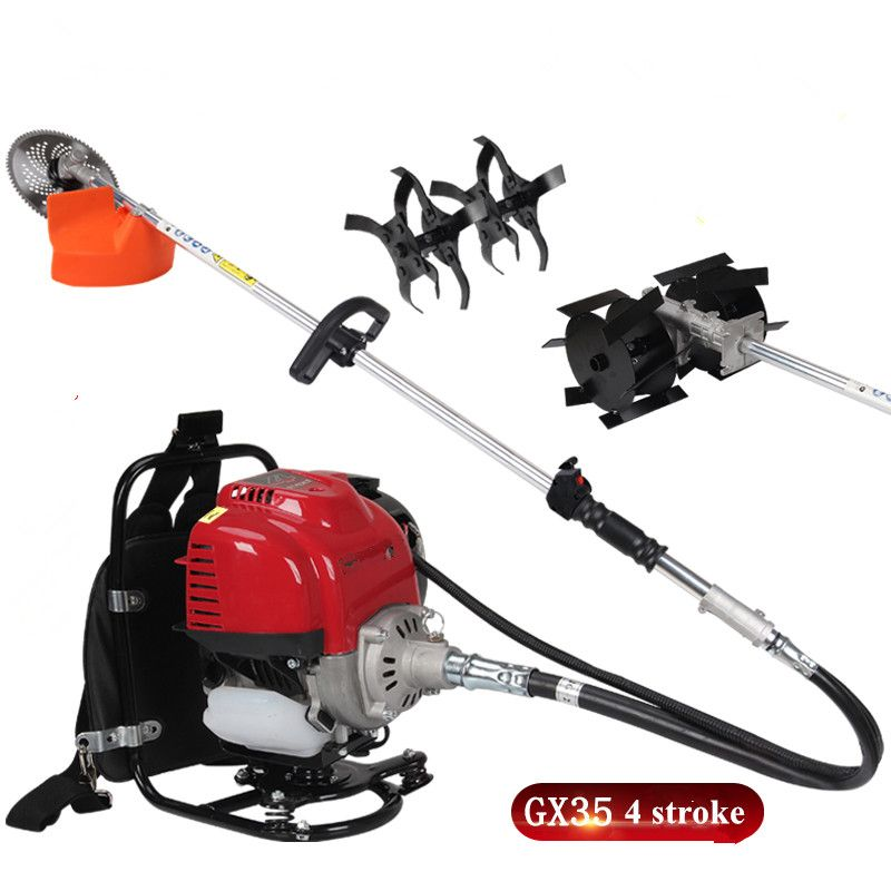 2017professional 3in1 Multi tool Backpack Brush cutter 4 stroke GX35 Engine Petrol strimmer Grass cutter cultivator grass wheel