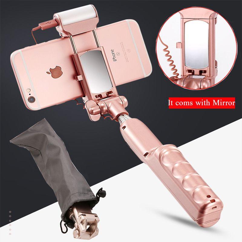 Minipai палка для селфи с зеркало заднего вида, Bluetooth и свет пульт дистанционного спуска затвора монопод Заполните свет для iphone Samsung телефонах ...