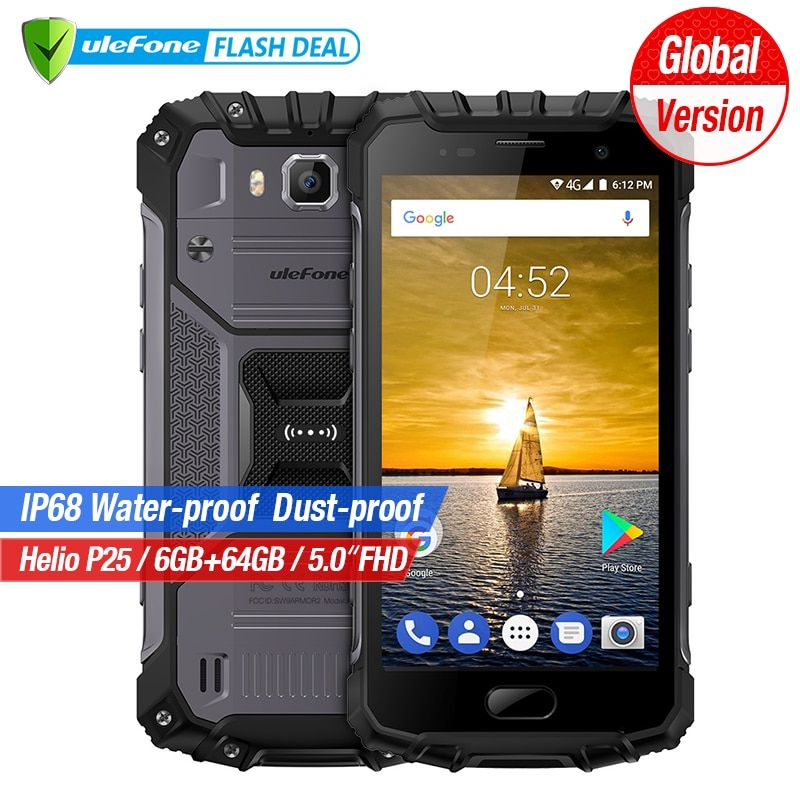 Ulefone Armor 2 6GB RAM 64GB ROM Waterproof IP68 Mobile Phone 5.0 inch FHD MTK6757 Octa Core Android 7.0 16MP Cam 4G Smartphone