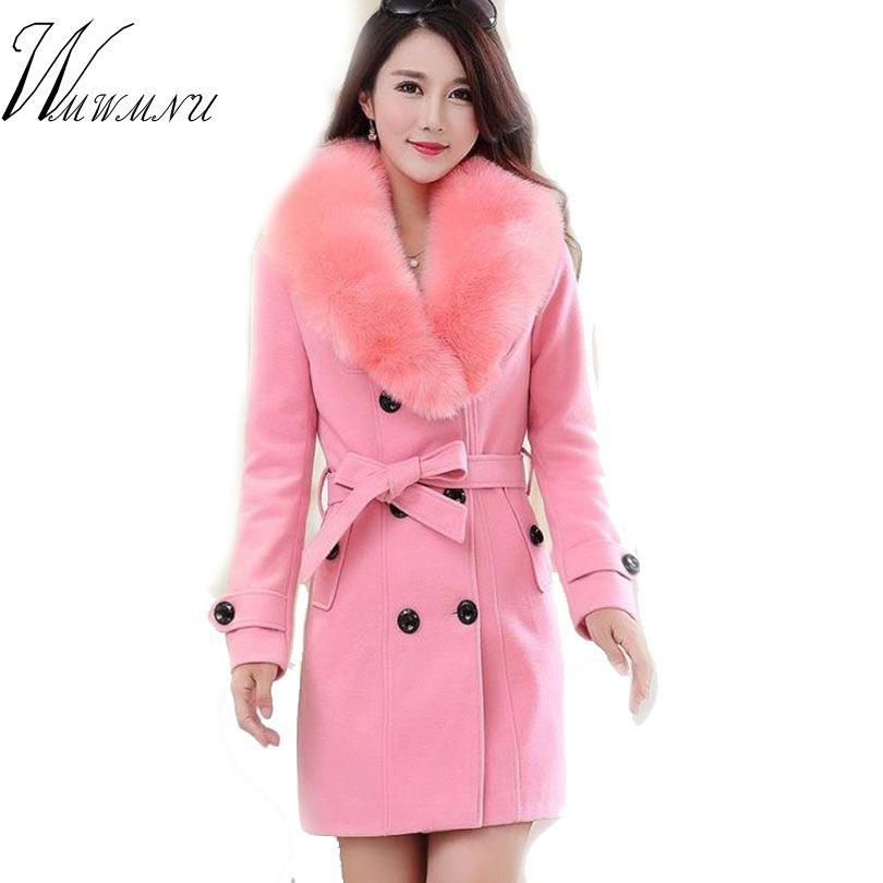 WMWMNU 2018 hiver mode slim long laine manteau femmes grand col de fourrure Double boutonnage chaud laine veste élégant vintage rose manteau