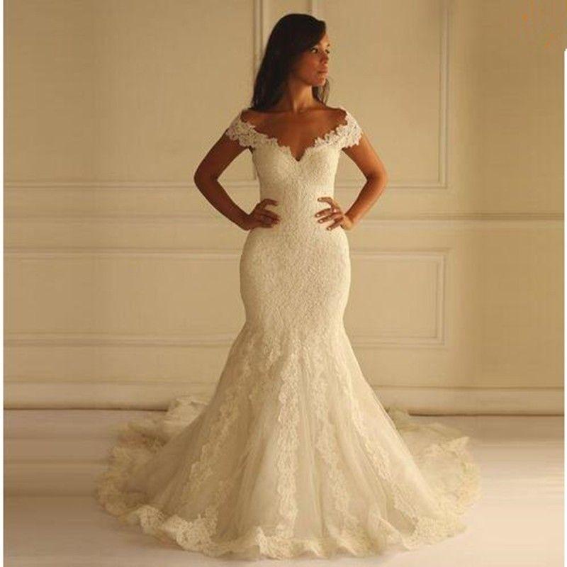 Romantic Lace Mermaid Gown Sexy V-Neck Unique Design Back Foor Length Wedding Party Dress