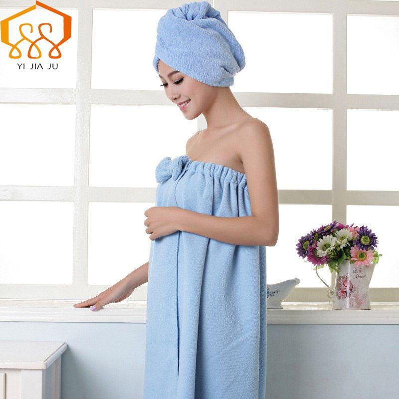 Women Bath Towel Microfiber Fabric Beach Towel Soft Wrap Women Bath Skirt Dry Hair Cap Set Super Absorbent Home For <font><b>Bathroom</b></font>