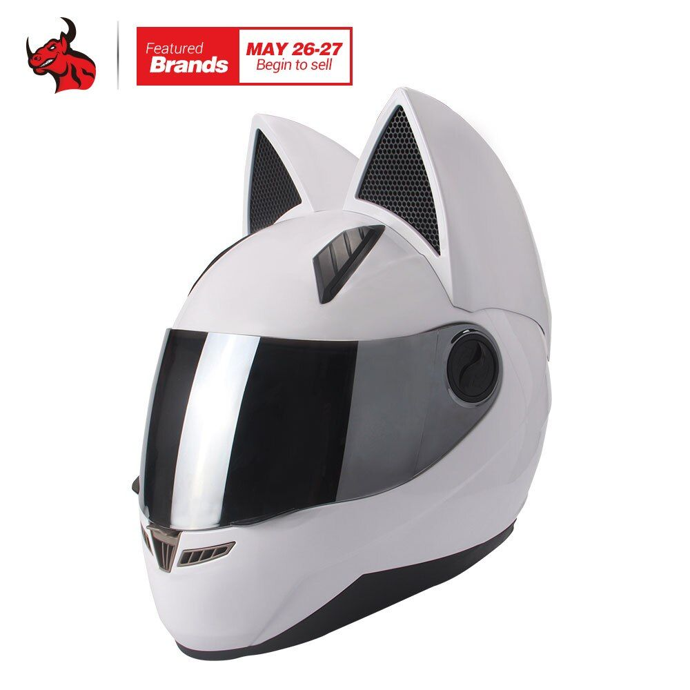 NITRINOS Motorrad Helm Männer Frauen Persönlichkeit Katze Helm Capacete De Moto Weiß Full Face Racing Helme M/L/XL/XXL